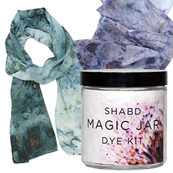 "Shabd Magic Jar Dye Kit to make your own silk scarf - ""A proprietary blend of dyes have been expertly arranged alongside the scarf by artist/designer Shabd Simon-Alexander, ensuring beautiful unique results every time in this patent-pending kit. """