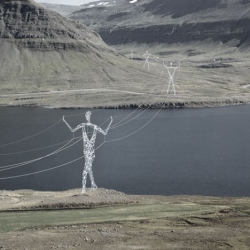 Awesome - American firm Choi + Shine Architects designed these conceptual electricity pylons shaped like human figures to march across the Icelandic landscape.