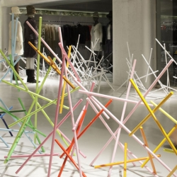 Gorgeous installations from Emmanuelle Moureaux installations of interlocking colored sticks at 3 Issey Miyake stores in Tokyo.