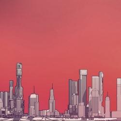 Beautifully simple futuristic city skylines by Brooklyn-based artist/architect  Olalekan Jeyifous.