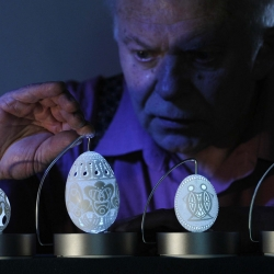 Slovenian artist Franc Grom displays his drilled Easter eggs in Vrhnika, Slovenia April 9, 2009. From the always amazing Big Picture.