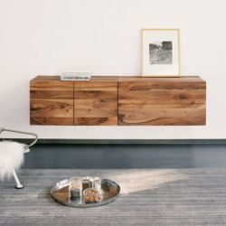 warm and substantial floating cabinetry by philipp mainzer for e15 is offered in solid oak or walnut, and has no footprint.
