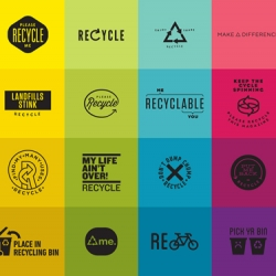 "VSA Partners has designed a series of new 'please recycle' logos as an alternative to the commonly used ""chasing arrows"" logo."