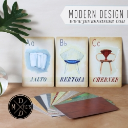 Mid Century Modern Icons of design in Flash card form!