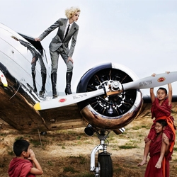 This editorial recreates the speculation that Amelia Earhart had mysteriously landed in Tibet. photographed by Giuliano Bekor for Marie Claire.