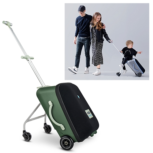 Micro Luggage Eazy - a carryon bag that has pop out wheels so a kid up to 44lbs can ride on it (complete with handles and footrest) From the Swiss company behind the super popular Micro Kickboard Scooters.
