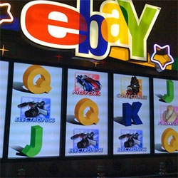 Online auction house eBay its own slot machines in casinos around the country. Maybe you'll have a better chance getting your money back from these than with that  93% feedback PowerSeller that you thought would be okay.