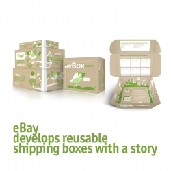eBay has created a new shipping box concept consisting using reusable boxes (100% recycled cardboard) to ship what you sell. More over, you can add a message on the boxes, which may go around the world.