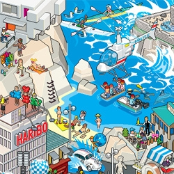 The eBoy team just releases a new pixel art poster. For the first time, a french city is honored. Welcome to Marseille, on the shores of the Mediterranean!