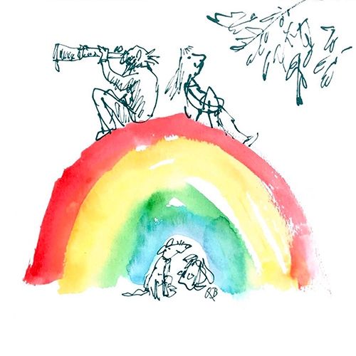 Quentin Blake has lots of e-cards! And he's just added a series of rainbow ones for your friends that need a little happy boost. (Also check out the coloring pages.)