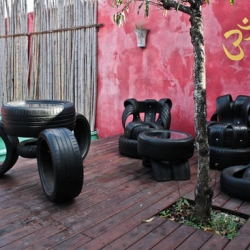 Uruguay-based Eccotrack recycles car tires to create coffee tables, bar tables, chairs and belts.