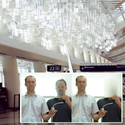 Video of the 'eCLOUD' dynamic sculpture made of polycarbonate tiles that fade between transparent and opaque states reacting to real time weather data from around the world.
