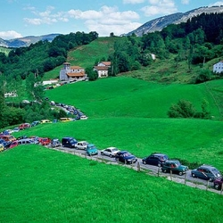 When is a traffic jam art?  When it is staged, flash-mob style, as an installation in the Pyrenees...