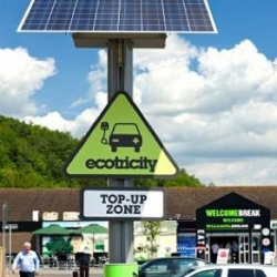 Electric vehicles will be able to travel the length of the UK using a network of free, solar-powered charging stations along motorways.