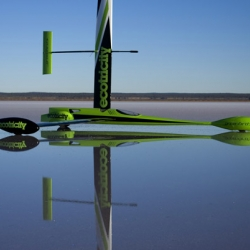 Eco-entrepreneur Dale Vince of Ecotricity and engineer Richard Jenkins are setting up on the salt flats at Lake LeFroy in Western Australia, hoping to catch the right breeze and make history in their sleek wind-powered vehicle, the Greenbird.