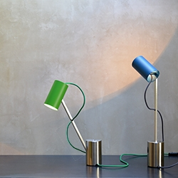 Lamp ed005 by Edizioni Design. Reconfigurable table-lamp with carved solidsteel base.