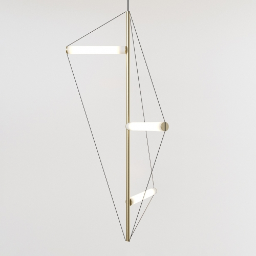 ED045 lamp by Edizioni Design. Chandelier with brass structure and frosted light tubes.