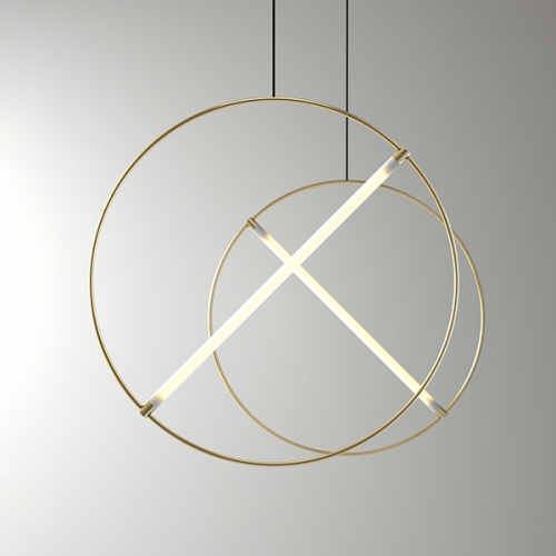 ED046 lamp by Edizioni Design. Suspension lamp made by a brass circular tube and a led tube light.