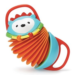 Skiphop Hedgehog Accordion - Includes easy to grab handles, rubberized details for teething, and sliding beads.