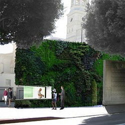 A green living facade for an edible restaurant designed by Sander Architects in LA.