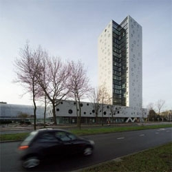A high rise residential building in Groningen, Netherlands. It´s part of a municipal project to keep the city compact. By Arons en Gelauff Architecten.