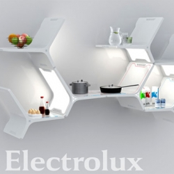 All-In-One Kitchen Shelving Concept by Mathew Gilbride for Electrolux. Mathew Gilbride's Elements Modular Kitchen has incorporated appliances that range from refrigeration, air-conditioner, lighting, and cooking modules.