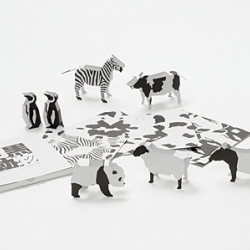 3D Black & White Animal Cards Designed by EDU.