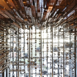 March Studios have transformed the auditorium of the Nishi Building in Canberra with reclaimed wood. It was designed by MONA designers Fender Katsalidis Architects and Suppose Design Office in cooperation with Arup.