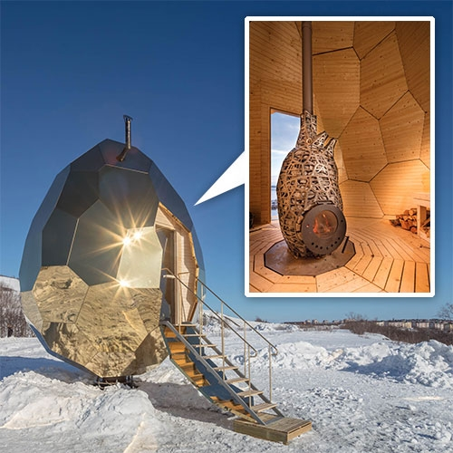 Solar Egg by Bigert & Bergström commission from Riksbyggen. This golden, faceted sculpture is a sauna inside, installed at Luossabacken in Kiruna, Sweden's northernmost town.