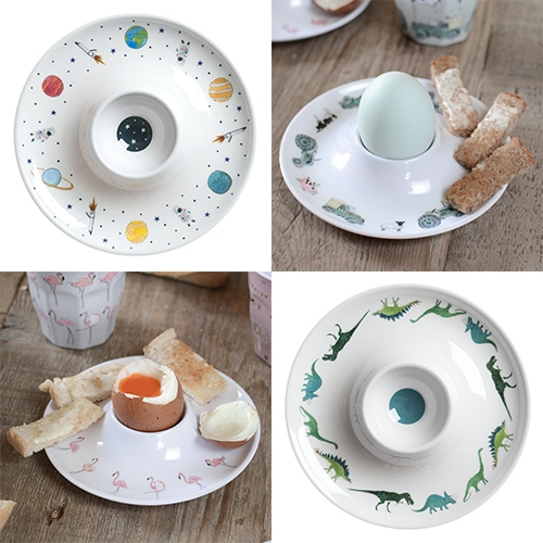 Sophie Allport has adorable melamine egg cup saucers for kids - space, dinosaurs, flamingos, farms and more.