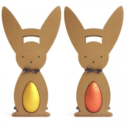Melt London Children's Milk Chocolate Golden Egg and Coral Egg. Fun packaging with the minimal cardboard bunny egg holder.