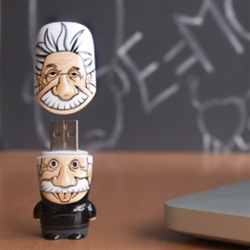 "Mimobots go Einstein - The first in a brand-new series of MIMOBOT flash drives from Mimoco honoring iconic figures in history, ""The Legends of MIMOBOT Series"""