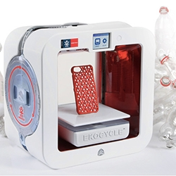 EKOCYCLE Cube - latest 3D System Cubify 3D Printer that prints in post-consumer waste. Apparently each EKOCYCLE Filament Cartridge contains 25% of post-consumer recycled materials, using an average of 3 assorted recycled 20oz PET plastic bottles.