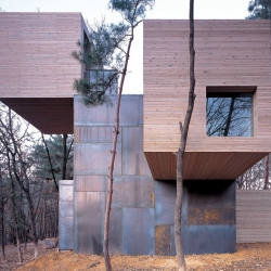 The Element house by Sami Rintala in Bisan Urban Natural Park, Anyang Resort, South Korea. The house is not to live in but for passers-by who wish to halt, rest and make their own understanding and use of a simple space made of matter and light.