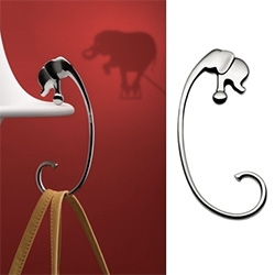 "Alessi Elephant ""Jumbo"" Stainless Steel Purse Hook by Frederic Gooris, con Sebastiano Tosi"