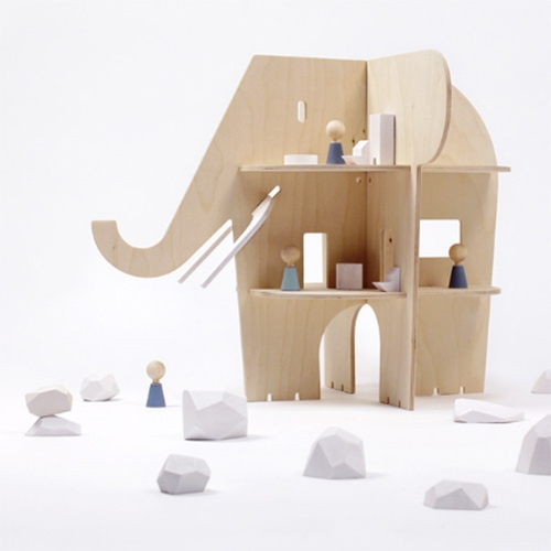 Rock and Pebble Ele-Villa made of solid birch plywood. A magical dollhouse of sorts!