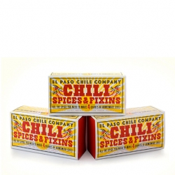 Great packaging for El Paso Chili by Louise Fili comes in a kitchen matchbox,