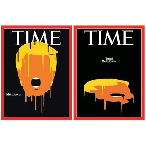 Time Magazine cover from Meltdown to Total Meltdown (and animated too!) The imagery by Artist Edel Rodriguez is definitely an icon for election 2016.