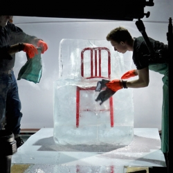 Emeco's new version of the Navy Chair, made of recycled Coca-Cola bottles. Great ad campaign showing the chair encased in a one-ton block of ice created by ice sculptor Duncan Hamilton and photographed by Peer Lindgreen.