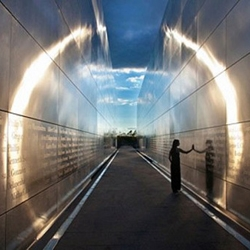 "The 9/11 Memorial ""Empty Sky"" honoring the victims from New Jersey who lost their lives at the Twin Towers, directly across the river from the World Trade Center. Simple and striking."