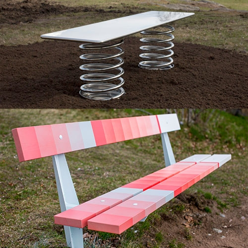 "Max Lamb, Scholten & Baijings and Philippe Malouin create ""Superbenches"" for suburban Stockholm park"