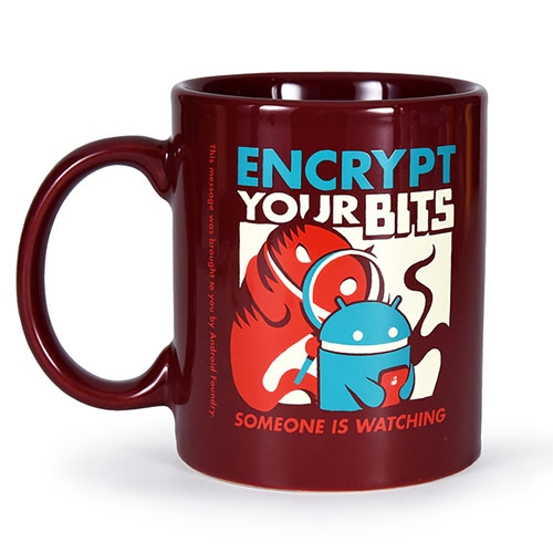 Encrypt Your Bits! New mug from Android Foundry Progress Administration (Andrew Bell!) just in time for the holidays.