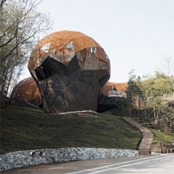 Japanese architect Shuhei Endo designed this bubble-like structure, called Bubbletecture H, housing an institution and exhibition for earth environmental study.