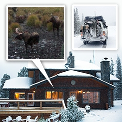 Mount Engadine Lodge by the Spray Lakes in Alberta is MAGICAL! This swiss inspired chalet treats you like family, feeds you well, and isn't joking about the abundance of moose/wildlife sightings... and the perfect place to get snowed in.