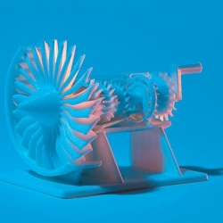 General Electric has created a wonderful 3D model of a jet engine that anyone can build themselves with a 3D printer. It is complete with moving parts and a cutaway design so you can see everything in motion.