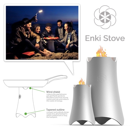 EnKi Stove Wild - High performance biomass camping stove (similar to Biolite) from Italy. Just gather twigs and sticks to power your stove. The only waste left is an organic charcoal called BioChar, in which are trapped CO and CO2.