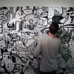En Masse is a Montreal based collective who create gigantic art piece, black and white murals and art installations.
