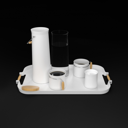 Ceramic coffee kit set. A boye (milk bottle). a water bottle. a mug. a creamer. a tray. By Yannick Golay