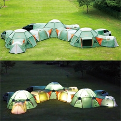 Tent City! Love these modular tent systems by Logos that can keep expanding...