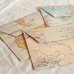 Cartographic envelopes with maps from all over the world!